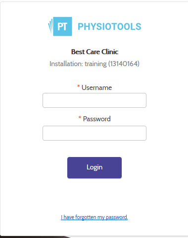 Physiotools login page