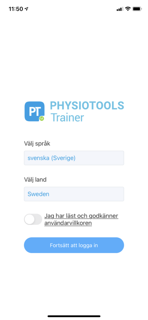 Inlogg 1 - Physiotools Trainer